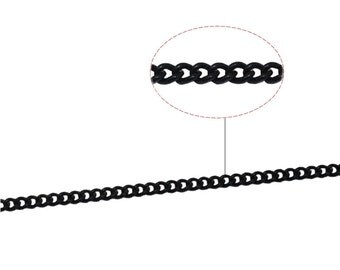 Black Chain Jewelry Links Flat Oval Chain Small Necklace Chains Black Jewelry Wholesale Lead Free Nickel Free ID 33724