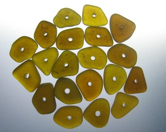 GENUINE SEA GLASS 12mm Beads 20 Flawless Amber Brown Center Drilled Real Surf TumbledNatural Greek Beach Seaglass Jewelry Bead   C 261d