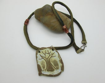 Winter Tree Pendant Necklace, Artisan Ceramic Tree Pendant