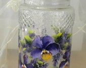 ON SALE Hand Painted Pansies Glass Storage Jar, Purple, Yellow and Green, Canister, Storage, Pantry, Vanity, Bathroom Storage
