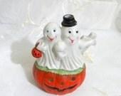 50% OFF SALE Vintage Ghosts on a Jack O' Lantern Tea Light Holder, Halloween Decor, Lighting, Party Decor