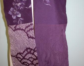 Vibrant purple vintage silk kimono scarf