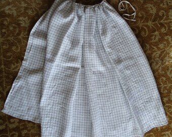 Linen Check Apron Handsewn Vintage with Tape Tie for Rev War Reenacting