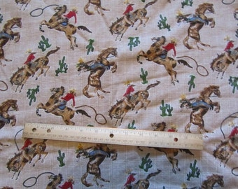 70 Inches Brown Cowboy/Rodeo Flannel Fabric