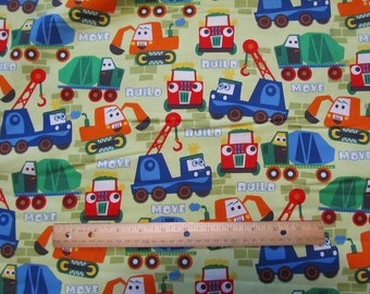 Green Builder/Mover Trucks/Dozers/Construction Cotton Fabric by the Yard