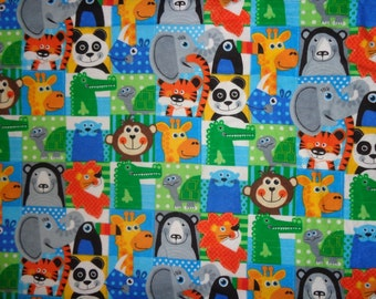 Multicolor Jungle Animal Blocked Flannel Fabric by the Yard