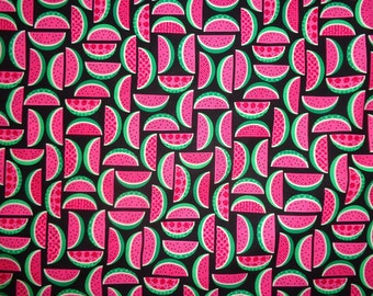 Black/Pink Blocked Watermelon Cotton Fabric by the Half Yard