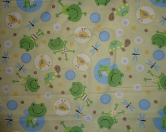 Yellow Frog/Turtle Flannel Fabric by the Yard