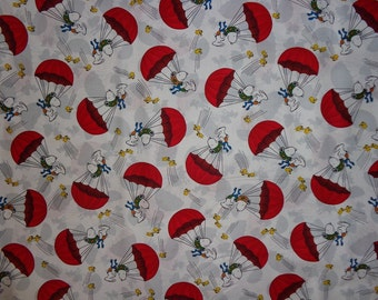 White Snoopy Ace Pilot Parachute Cotton Fabric by the Half Yard