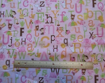 Pink Animal/ABC Toss Cotton Fabric by the Yard