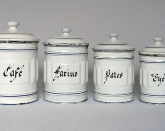 Set of 4 Vintage French Enamelware Ribbed Canisters from the 1930s