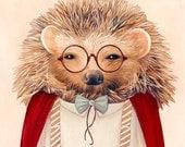 HEDGEHOG Art Print, Hedgehog, Kids Room poster, Hedgehog Illustration, Animal decor, Nursery Art, Animal portrait, Kids Art, Childrens Art
