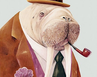 Walrus Art Print, Walrus Illustration, Walrus Painting, Dapper Animal, Animal Poster, Dressed Animals, Walrus Poster