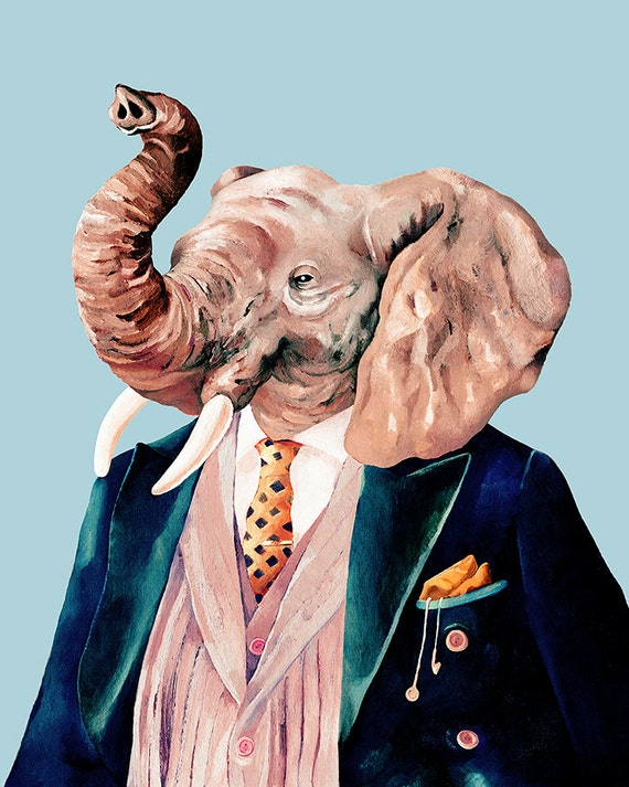Elephant Art Print, Elephant Illustration, Blue Wall Art, Kids Room Decor, boys room decor, Elephant Poster, Animal Crew