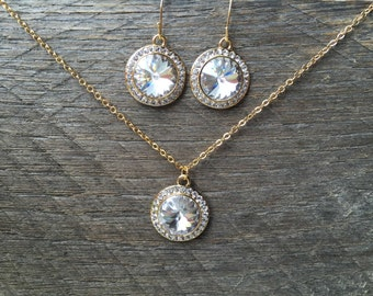SUMMER SALE Crystal Clear Set Necklace Earring Swarovski Pendent with Rhinestones on Silver or Gold Chain and French Hooks