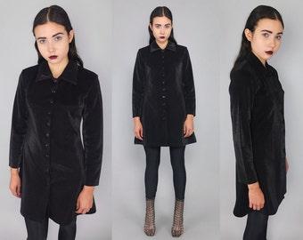 Vtg 90s Black Irridescent Glam Top Blouse Tunic Shirt M L