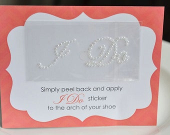 Pearl Wedding I Do Sticker for Bride's Shoes