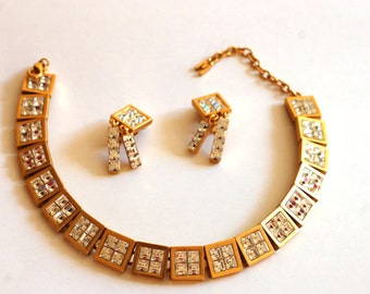 Montana set parure/necklace and clip on earring set parure/rhinestone/metal gold tone/haute couture/1990's designer jewel