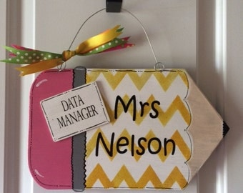 TEACHER Door Hanger | Pencil Door Hanger | School Door Hanger | School Staff Door Hanger