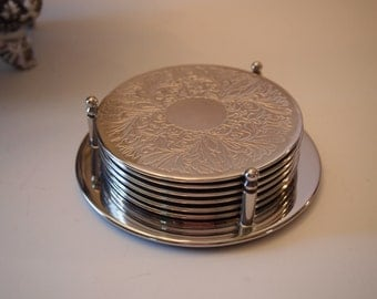 Vintage Silver Plated Coaster and Caddy Set