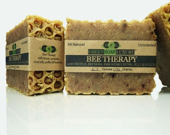 Bee Therapy Soap w/ Honey, Propolis, Royal Jelly, Pollen, Beeswax (6.6 oz to 7.1 oz) - UNSCENTED, all NATURAL Cold Process SOAP, Palm-Free