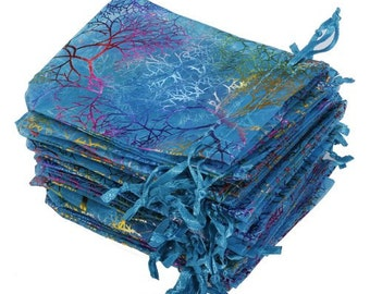 """Beautiful Iridescent Organza Pouches  """"Coral Reef"""" in Blue 12x9 cm set of 10"""