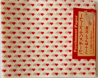 SALE  30 Sheets of Pre-Cut Heart Print Parchment Paper Sheets
