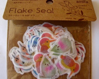 """NEW Amifa of Japan  Die Cut Stickers  """" Birds in Watercolor""""  for scrapbooking, Planners, Paper crafts. 60 pieces"""