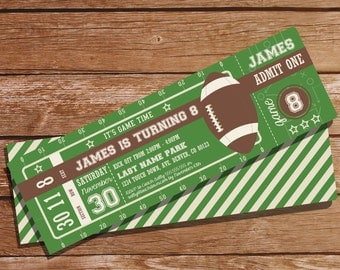 Football Party Ticket Invitation - Football Invitation - Instant Download and Editable File - Edit and Print at home with Adobe Reader