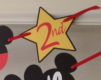 Add On to DIY Banner Kit Mickey Cutout and Star with Number by FeistyFarmersWife
