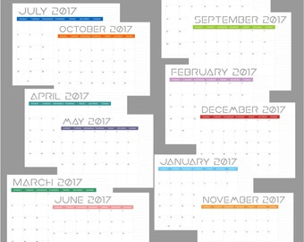 M O D - 12 Printable Monthly Calendars - Year 2017 - 8.5 x 11 - PDF