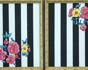 Floral stripes Duo