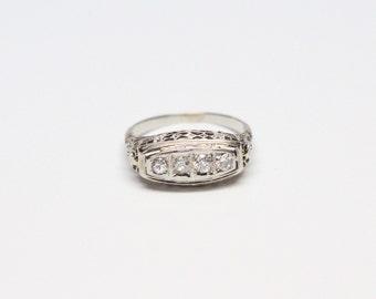 Art Deco 18k White Gold Diamond Filigree Saddle Ring - .25ct Total Weight Old European Cut Diamonds - All Original