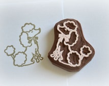 Hand Carved Rubber Stamp / Poodle