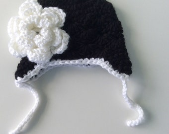 Newborn baby hat, shell stitch hat, crochet baby hat, baby girl hat, crochet hat with flower, earflap hat