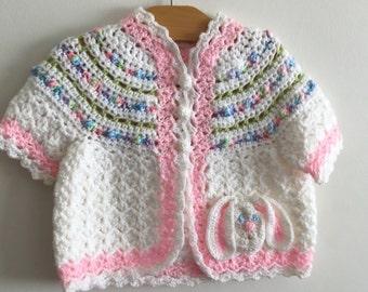 Little girls hand crochet sweater 6m0./12mo.