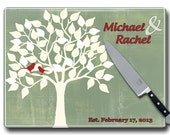 Family Tree Glass Cutting Board, Personalized with Couples names Wedding gift, Gift For Couples, Tree Love Birds Kitchen Decor