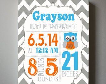 Owl Birth Announcement Baby Boy Gift, Baby Nursery Decor, Baby Keepsake Canvas Art, Blue and Orange decor