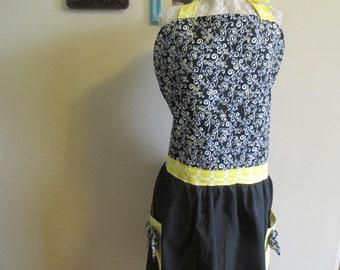 Full Apron, Retro Style Apron, Black and Yellow Apron