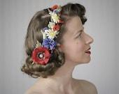 "Wildflower Headpiece, Poppy Fascinator, Bohemian Flower Hair Accessory, Red White Blue Summer Clip, 1930s 1940s - ""Meet Me in the Meadow"""