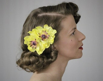 """Yellow Flower Clip, Water Lily Fascinator, Waterlily Headpiece, Hair Accessory Lotus, 1950s Vintage Floral - """"Born of Water"""""""