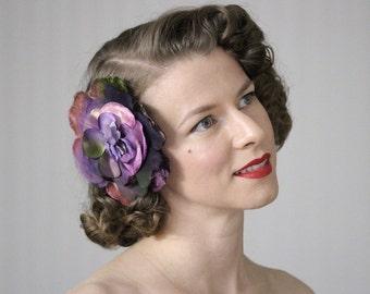 "Large Purple Flower Clip, Flat Fascinator, Floral Headpiece, 1940s Hair Accessory, Vintage - ""Velvet Daydreams"""