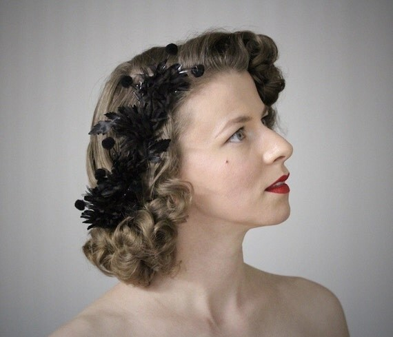 Black Flower Hair Accessory J7213: Items Similar To Black Flower Headpiece, 1940s Hair
