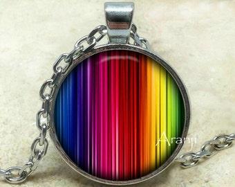 Rainbow pendant, Rainbow necklace, Rainbow stripe pendant, Rainbow necklace, Abstract art pendant, Pendant #PA143P