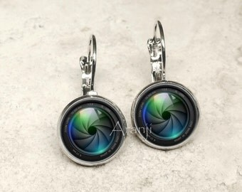 Camera lens earrings, camera earrings, camera jewelry, photography earrings, camera lens, gift for photographer, HG101LB