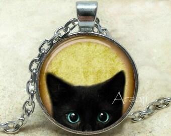 Black kitten art pendant, black cat pendant, black cat necklace, black cat jewelry, kitten necklace, kitten pendant, Pendant #AN116P