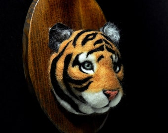 Felted Tiger Baby - Faux Taxidermy - Wall Mount