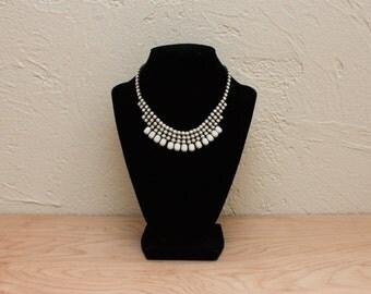 Luminous Vintage Weiss Milk Glass Choker Bib Necklace