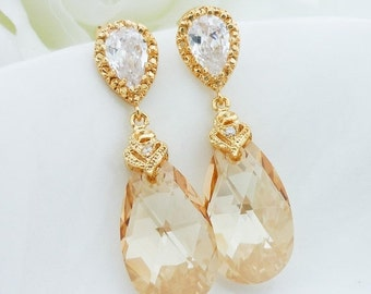 SALE Wedding Jewelry Bridesmaid Gift Bridal Jewelry Bridesmaid Earrings Champagne Earrings Golden Shadow Swarovski Crystal Drops Dangle Earr