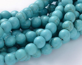 "15"" STRAND Turquoise Howlite Round Beads 8mm"